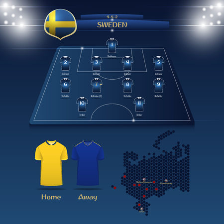 Team Sweden soccer jersey or football kit with match formation tactic info-graphic. Football player position on football pitch and stadium map.