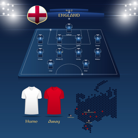 Team England soccer jersey or football kit with match formation tactic info-graphic. Football player position on football pitch and stadium map.