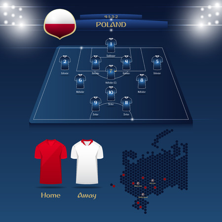 Team Poland soccer jersey or football kit with match formation tactic info-graphic. Football player position on football pitch and stadium map.