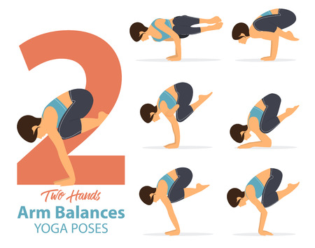 A set of yoga postures female figures for Infographic 6 Yoga poses for arm balances hand standing.
