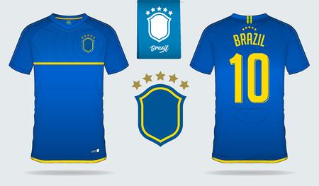 Set of soccer jersey or football kit template design for Brazil national football team. Front and back view soccer uniform. Football t shirt mock up. Vector Illustration