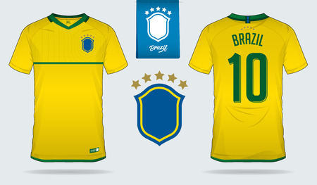 Set of soccer jersey or football kit template design for Brazil national football team. Front and back view soccer uniform Vector Illustration Ilustracja
