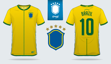 Set of soccer jersey or football kit template design for Brazil national football team. Front and back view soccer uniform. Football t shirt mock up. Vector Illustration