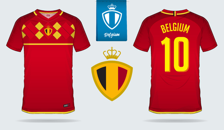 Soccer jersey or football kit template design for Belgium national football team. Front and back view soccer uniform. Home and Away Football t shirt mock up with flat logo design. Vector Illustration