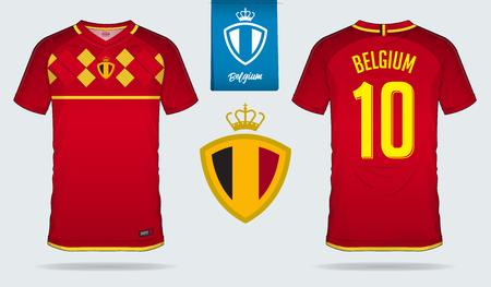 Voetbalshirt of voetbal kit sjabloonontwerp voor Belgisch voetbalelftal. Voor- en achteraanzicht voetbaluniform. Home and Away voetbalshirt mock-up met plat logo-ontwerp. Vector illustratie