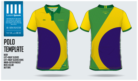 Brazil Team Polo t-shirt sport template design for soccer jersey, football kit or sportwear. Classic collar sport uniform in front view and back view. T-shirt mock up for sport club. Vector Illustration. Vettoriali