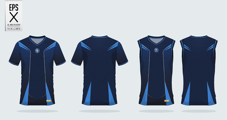 Blue stripe Pattern t-shirt sport design template for soccer jersey, football kit and tank top for basketball jersey. Sport uniform in front and back view. Tshirt mock up for sport club. Vector Illustration.