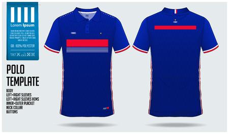 Diseño de plantilla deportiva de camiseta de Francia Team Polo para camiseta de fútbol, kit de fútbol o ropa deportiva. Uniforme deportivo de cuello clásico en vista frontal y vista posterior. Maqueta de camiseta para club deportivo. Ilustración de vector. Ilustración de vector
