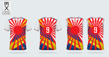 Japan Red Sunrise and Color stripe t-shirt sport design template for soccer jersey, football kit and tank top for basketball jersey. Sport uniform in front and back view. Tshirt mock up for sport club. Vector Illustration.