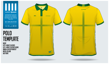 Brazil Team Polo t-shirt sport template design for soccer jersey, football kit or sportswear. Classic collar sport uniform in front view and back view. T-shirt mock up for sport club. Vector Illustration.