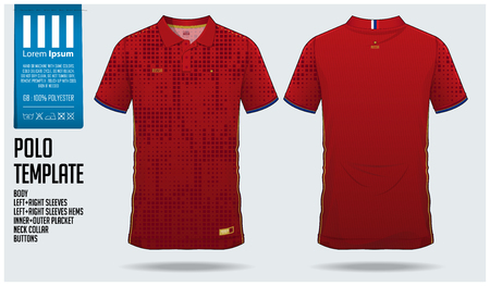 Russia Team Polo t-shirt sport template design for soccer jersey, football kit or sportswear. Classic collar sport uniform in front view and back view. T-shirt mock up for sport club. Vector Illustration.