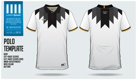 サッカージャージ、サッカーキットやスポーツウェアのためのドイツチームポロTシャツスポーツテンプレートデザイン。フロントビューとバックビューでクラシックカラースポーツユニフォーム。スポーツクラブのためのTシャツモックアップ。ベクトル図。