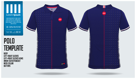 Japan Team Polo t-shirt sport template design for soccer jersey, football kit or sportswear. Classic collar sport uniform in front view and back view. T shirt mock up for sport club. Vector Illustration.