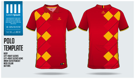 Belgium Team Polo t-shirt sport template design for soccer jersey, football kit or sportswear. Classic collar sport uniform in front view and back view. T shirt mock up for sport club. Vector Illustration.