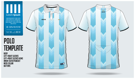 Argentina Team Polo t-shirt sport template design for soccer jersey, football kit or sportswear. Classic collar sport uniform in front view and back view. T shirt mock up for sport club. Vector Illustration.
