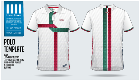 Portugal Team Polo t-shirt sport template design for soccer jersey, football kit or sportswear. Classic collar sport uniform in front view and back view. T shirt mock up for sport club. Vector Illustration.