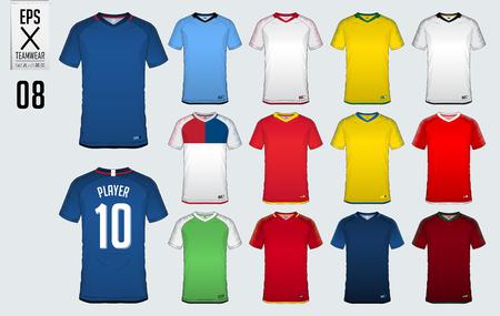 Soccer jersey, football kit, t-shirt sport  template design for sport club. Football t-shirt mock up. Front and back view soccer uniform. Sportswear Catalog. Vector Illustration. Illustration