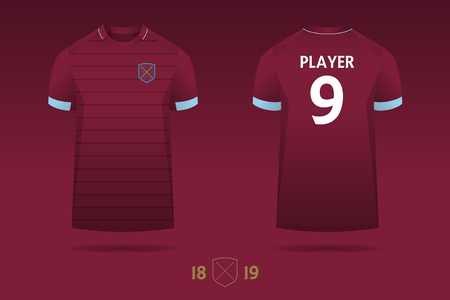 Soccer jersey, football kit, t-shirt sport  template design for English football club. Football t-shirt mock up. Front and back view soccer uniform. Vector Illustration.