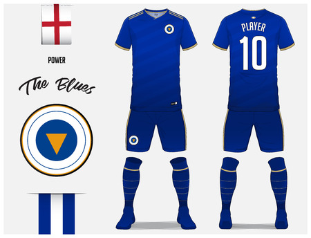 ee57601d733 Soccer jersey or football kit template for football club. Blue football  shirt with sock and
