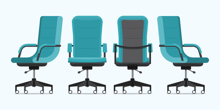 Office chair or desk chair in various points of view. Armchair or stool in front, back, side angles. Blue furniture for Interior in flat design. Vector illustration. Illustration