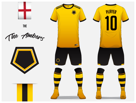 Soccer jersey or football kit template for football club. Yellow football shirt with sock and shorts mock up. Front and back view soccer uniform. Football logo and Flag label. Vector Illustration.