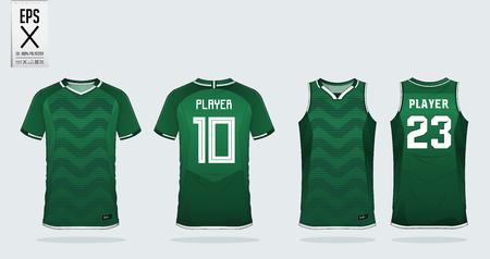 Groene zigzag patroon t-shirt sport ontwerpsjabloon voor voetbalshirt, voetbalset en tanktop voor basketbalshirt. Sportuniform in voor- en achteraanzicht. Sportshirt mock-up voor sportclub. Vector illustratie