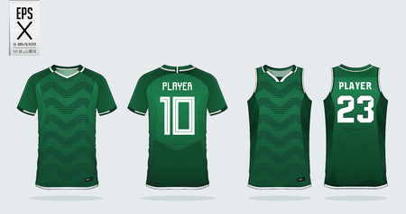 Plantilla de diseño deportivo de camiseta verde en zigzag para camiseta de fútbol, kit de fútbol y camiseta sin mangas para camiseta de baloncesto. Uniforme deportivo en vista frontal y posterior. Maqueta de camiseta deportiva para club deportivo. Ilustración de vector.