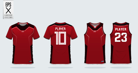Red t-shirt sport design template for soccer jersey, football kit and tank top for basketball jersey. Sport uniform in front and back view. Sport shirt mock up for sport club. Vector Illustration. Illustration
