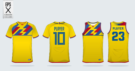 Yellow t-shirt sport design template for soccer jersey, football kit and tank top for basketball jersey. Sport uniform in front and back view. Sport shirt mock up for sport club. Vector Illustration.