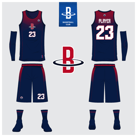 Basketball uniform or sport jersey, shorts, socks template for basketball club. Front and back view sport t-shirt design. Tank top t-shirt mock up with basketball flat logo design. Vector Illustration.