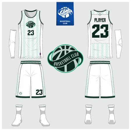 Camiseta de baloncesto o uniforme deportivo, pantalones cortos, plantilla de calcetines para el club de baloncesto. Diseño de camiseta deportiva de vista frontal y posterior. Camiseta sin mangas con diseño de logo plano de baloncesto. Ilustración de vector. Logos