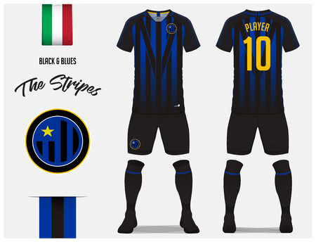 Soccer jersey or football kit template for football club. Blue and black stripe football shirt with sock and blue shorts mock up. Front and back view soccer uniform. Football logo and Flag label. Vector Illustration.