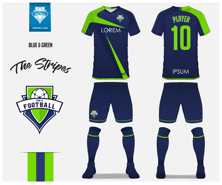 Soccer jersey or football kit template for football club. Blue and green stripe football shirt with sock and blue shorts mock up. Front and back view soccer uniform. Football logo design. Vector Illustration. Logo