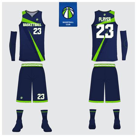 Basketbaluniform of sporttrui, korte broek, sokken sjabloon voor basketbalclub. Voor- en achteraanzicht sport t-shirt design. Tanktop t-shirt mock-up met basketbal plat logo-ontwerp. Vector illustratie