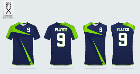 Blauw en groen T-shirt sport ontwerpsjabloon voor voetbalshirt, voetbalset en tanktop voor basketbalshirt. Sportuniform in voor- en achteraanzicht. Sportshirt mock-up voor sportclub. Vector illustratie Vector Illustratie