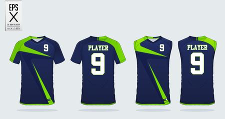 Niebiesko-zielony szablon projektu koszulki sportowej na koszulkę piłkarską, strój piłkarski i podkoszulek na koszulkę do koszykówki. Mundur sportowy z przodu iz tyłu. Koszulka sportowa makieta dla klubu sportowego. Ilustracji wektorowych. Ilustracje wektorowe