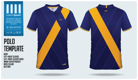 Blue and yellow Polo t-shirt sport template design for soccer jersey, football kit or sportswear. Sport uniform in front view and back view. T-shirt mock up for sport club. Vector Illustration. Illustration
