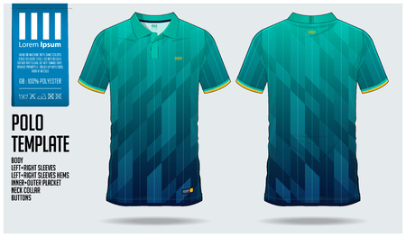 Blue and green gradient Polo t-shirt sport template design for soccer jersey, football kit or sportswear. Sport uniform in front view and back view. T-shirt mock up for sport club. Vector Illustration.