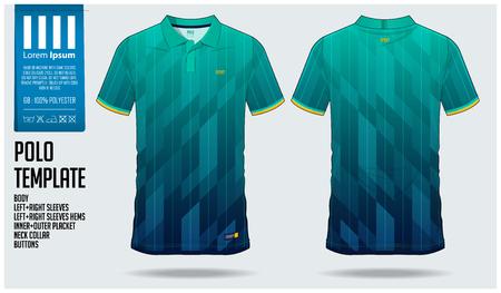 Diseño de plantilla deportiva de camiseta Polo degradado azul y verde para camiseta de fútbol, kit de fútbol o ropa deportiva. Uniforme deportivo en vista frontal y vista posterior. Maqueta de camiseta para club deportivo. Ilustración de vector. Ilustración de vector