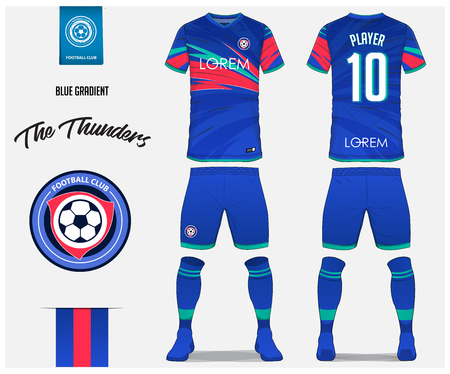 Soccer jersey or football kit template design for football club. Blue gradient football shirt with sock and blue shorts mock up. Front and back view soccer uniform. Football logo design. Vector Illustration.