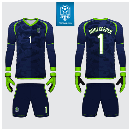 Goalkeeper jersey or soccer kit, long sleeve shirt, goalkeeper glove template design. Blue camouflage gradient sport t-shirt mock up. Front and back view football uniform. Flat football logo. Vector. Vettoriali