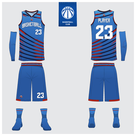 Basketball uniform or sport jersey, shorts, socks template for basketball club. Front and back view sport t-shirt design. Tank top t-shirt mock up with basketball flat logo design. Vector Illustration. Logo