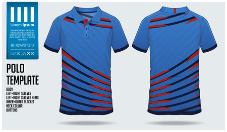 Blue Polo t-shirt sport template design for soccer jersey, football kit or sportswear. Sport uniform in front view and back view. T-shirt mock up for sport club. Vector Illustration. Illustration