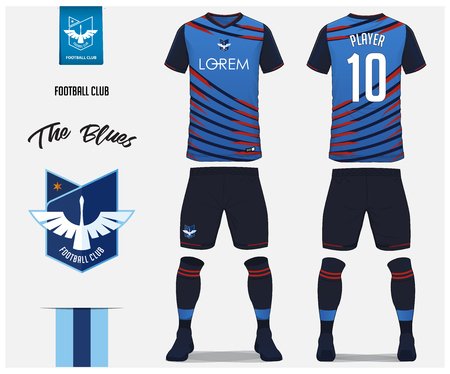 Soccer jersey or football kit template design for football club. Blue football shirt with blue socks and blue shorts mock up. Front and back view soccer uniform. Football logo design. Vector Illustration.