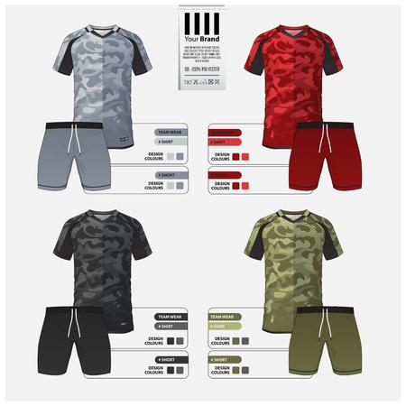 Disegno del modello di calcio jersey o kit da calcio per la squadra di calcio. Set di maglietta da calcio con motivo mimetico verde, grigio, nero, rosso e pantaloncini mock up. Divisa da calcio vista anteriore e posteriore. Illustrazione vettoriale.
