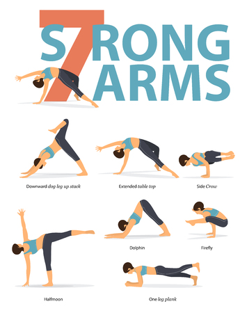 Set of yoga postures female figures for Infographic 7 Yoga poses for strong arms in flat design. Woman figures exercise in blue sportswear and black yoga pants. Vector Illustration. Archivio Fotografico - 109684323