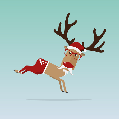 Christmas Reindeer in flat design for Christmas holiday decoration. Cartoon character. Vector. Illustration. Illustration
