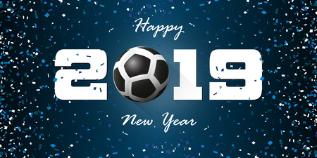Happy New Year 2019 banner with paper confetti on blue background. Banner design template for New Year decoration in Soccer Concept. Vector illustration. Illustration