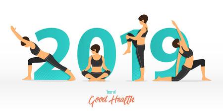 Banner di felice anno nuovo 2019 con pose di yoga. Anno di buona salute. Modello di disegno di banner per la decorazione di Capodanno nel concetto di Yoga. Illustrazione vettoriale. Vettoriali