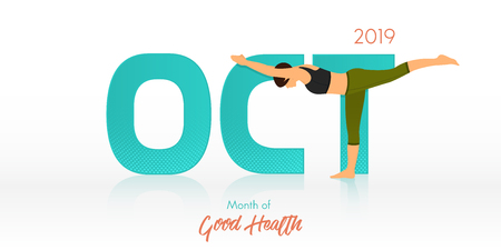 Yoga pose for October banner. Yoga routine header for calendar template. Woman figures exercise in black shirt and green yoga pants  in Month of Good Health concept. Vector Illustration.
